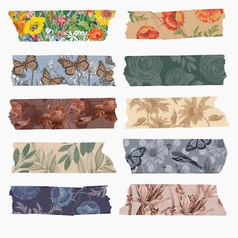 Coleção de scrapbooking diy decoração vintage, conjunto de adesivos de fita washi de vetor