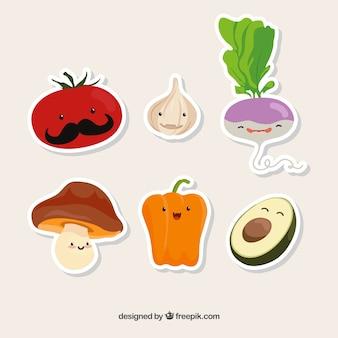 Coleção de seis alimentos vegetarianos engraçados