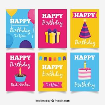 Coleção de seis cartões de aniversário coloridos em design plano
