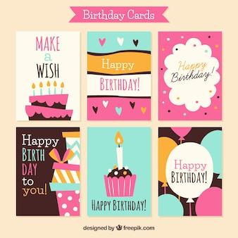 Coleção de seis cartões de aniversário desenhados a mão