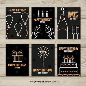 Coleção de seis cartões de aniversário em preto e dourado