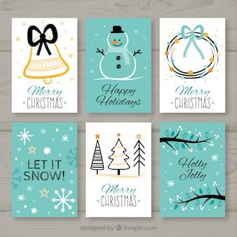 Coleção de seis cartões de natal em branco e turquesa