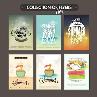 Coleção de seis folhetos diferentes do partido do verão, moldes ou projeto dos cartões do convite