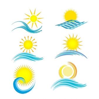 Coleção de seis ícones diferentes temático do verão