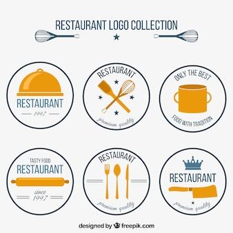Coleção de seis logotipos de restaurantes redondos em estilo retro