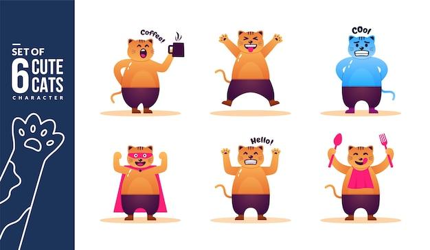Coleção de seis personagens de gatos fofos em diferentes poses