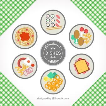 Coleção de seis pratos de restaurante