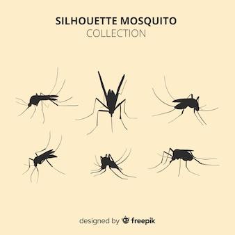 Coleção de seis silhuetas de mosquito