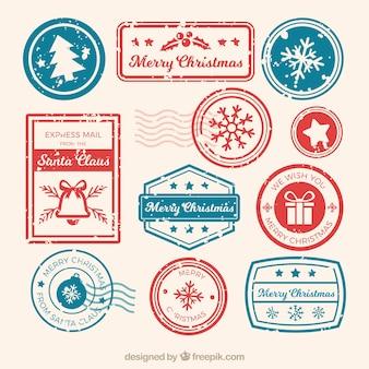 Coleção de selo de natal em azul e vermelho