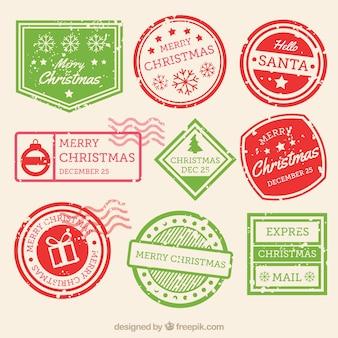 Coleção de selo de natal em verde e vermelho