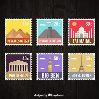 Coleção de selo monumento cor plana