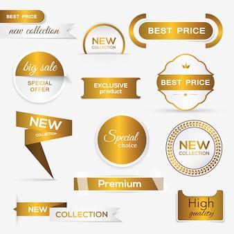 Coleção de selos / adesivos promocionais dourados.