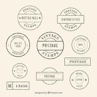 Coleção de selos arredondada do vintage