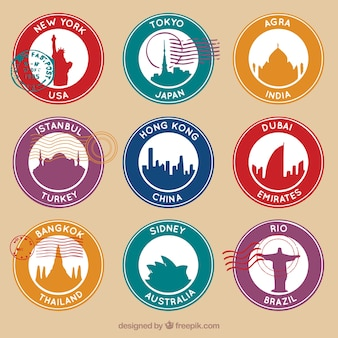 Coleção de selos coloridos da cidade