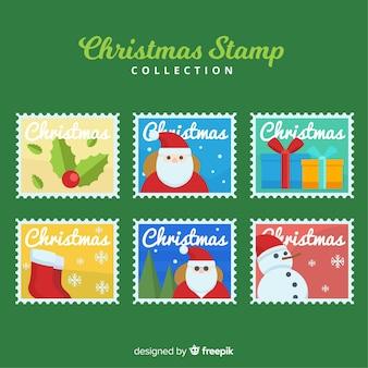 Coleção de selos coloridos de natal