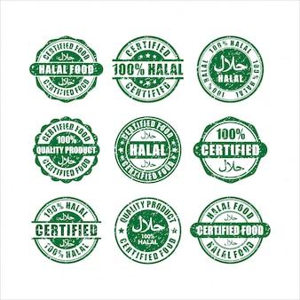 Coleção de selos com certificação halal food