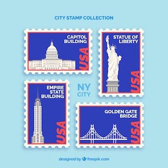 Coleção de selos com nós pontos de referência