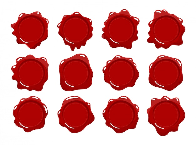 Coleção de selos de cera. conjunto de selo de cera vermelha. elementos de design isolado. marcas de proteção e certificação, garantia e qualidade