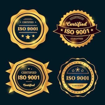 Coleção de selos de certificação iso