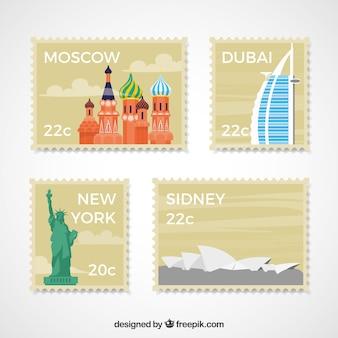 Coleção de selos de cidade em estilo plano