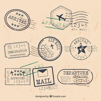 Coleção de selos de cidade em estilo retro