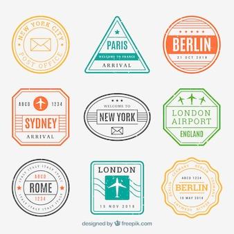 Coleção de selos de cidades em diferentes cores