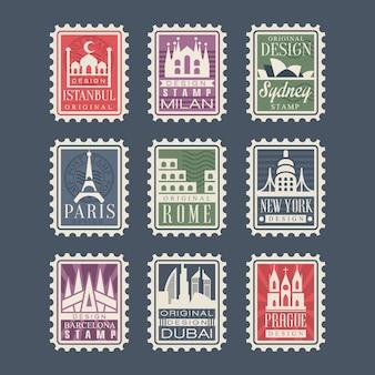 Coleção de selos de diferentes países com marcos arquitetônicos, ilustrações, selos de cidades com símbolos
