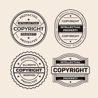 Coleção de selos de direitos autorais em preto e branco