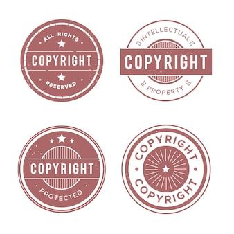 Coleção de selos de direitos autorais em vermelho pastel