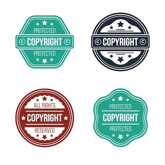Coleção de selos de direitos autorais planos