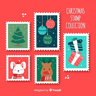 Coleção de selos de elementos de natal