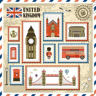 Coleção de selos de impressão de viagens requintada do reino unido
