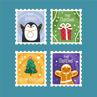 Coleção de selos de natal de design plano