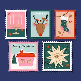 Coleção de selos de natal desenhada à mão