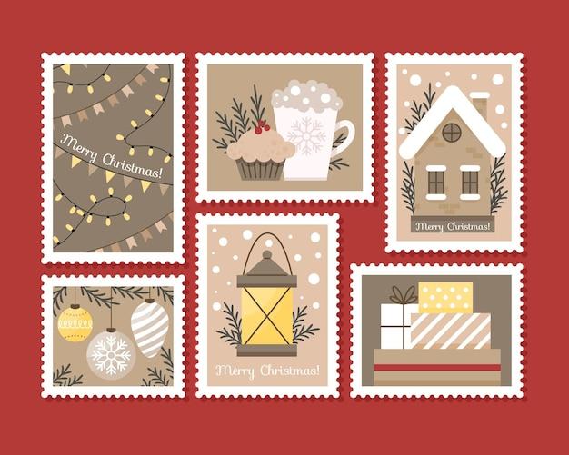 Coleção de selos de natal em design plano