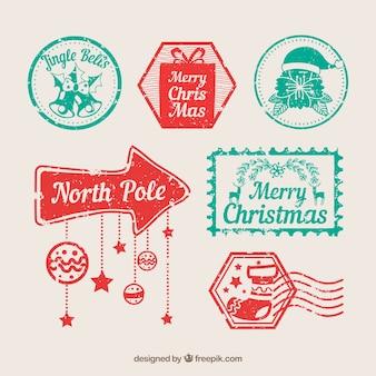 Coleção de selos de natal em vermelho e turquesa