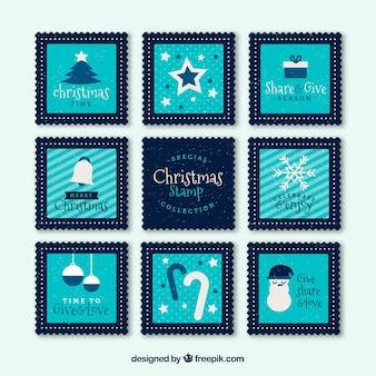 Coleção de selos de natal quadrados azuis