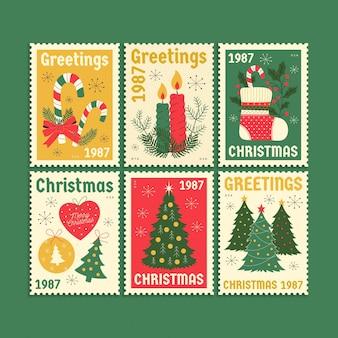 Coleção de selos de natal retrô