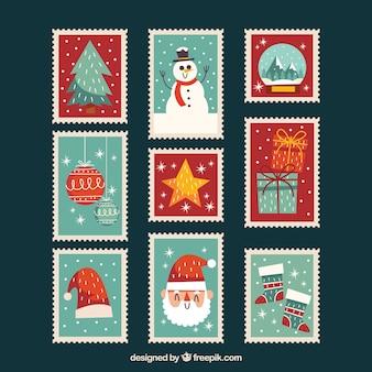 Coleção de selos de natal vintage