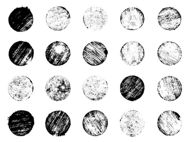 Coleção de selos de pós-grunge círculos banners logotipos ícones etiquetas e emblemas definir vetor angustiado t ...