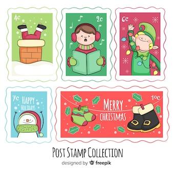 Coleção de selos de post de natal