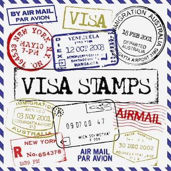 Coleção de selos de visto