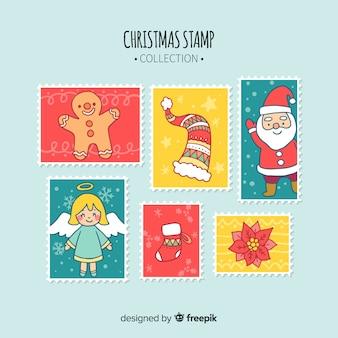 Coleção de selos decorativos de natal