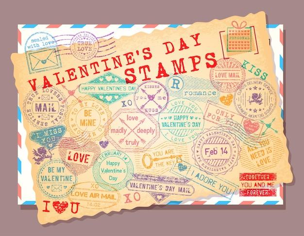 Coleção de selos do dia dos namorados de grunge isolado.