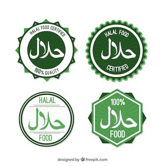 Coleção de selos halal com design plano