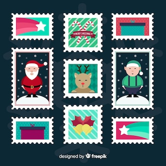 Coleção de selos plana de natal