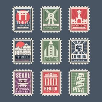 Coleção de selos postais, cidades do mundo, ilustrações, selos de cidades com símbolos