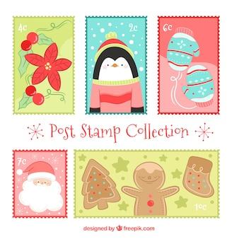 Coleção de selos postais de natal