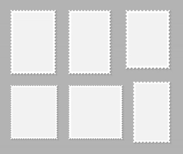 Coleção de selos postais em branco conjunto. ilustração