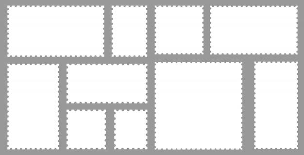 Coleção de selos postais em branco conjunto.